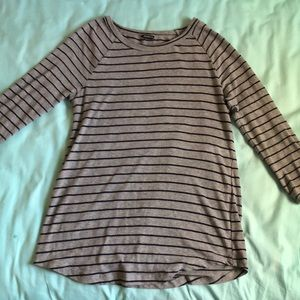 Grey Navy Striped Top